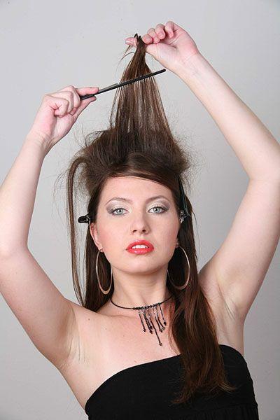 Как сделать начес на длинных волосах
