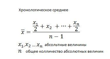 Формула для расчета хронологического среднего
