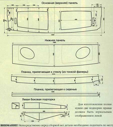 Размеры частей полки