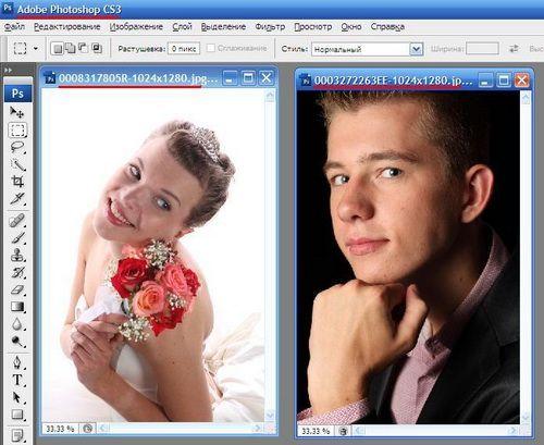 Как склеить две фотографии в фотошопе